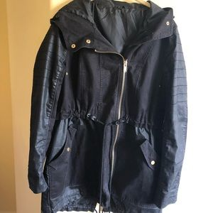 Black Denim and Faux Leather Jacket XL Quality